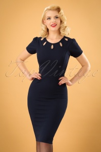 Vintage Chic Barbara Blue Keyhole Pencil Dress 100 31 24015 20171106 1w