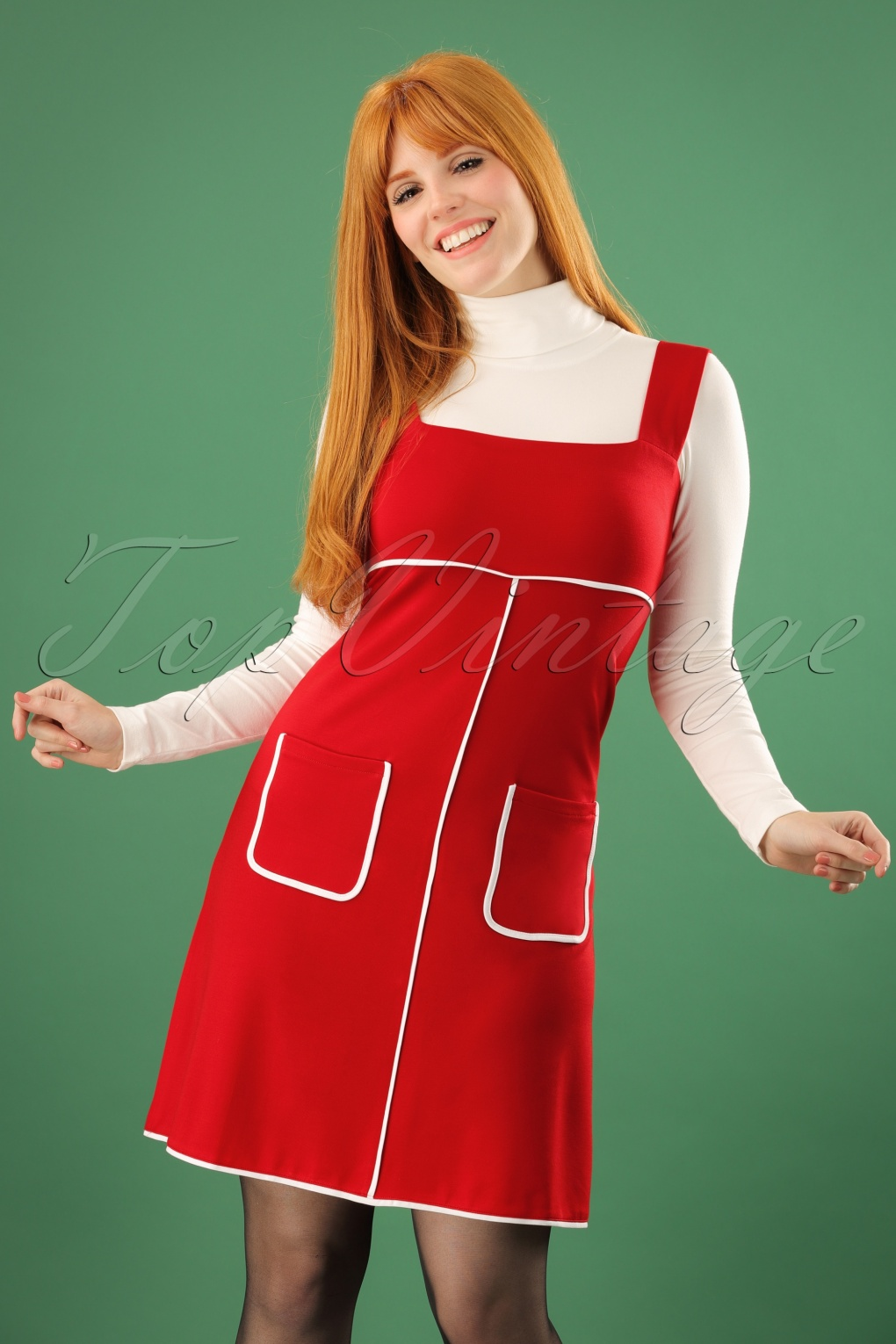 1960s Mad Men Dresses and Clothing Styles 60s Cindy Studio 64 Pinafore Dress in Red £37.93 AT vintagedancer.com