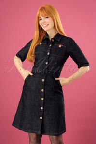 50s Ladies Jeans Dress in Denim Blue