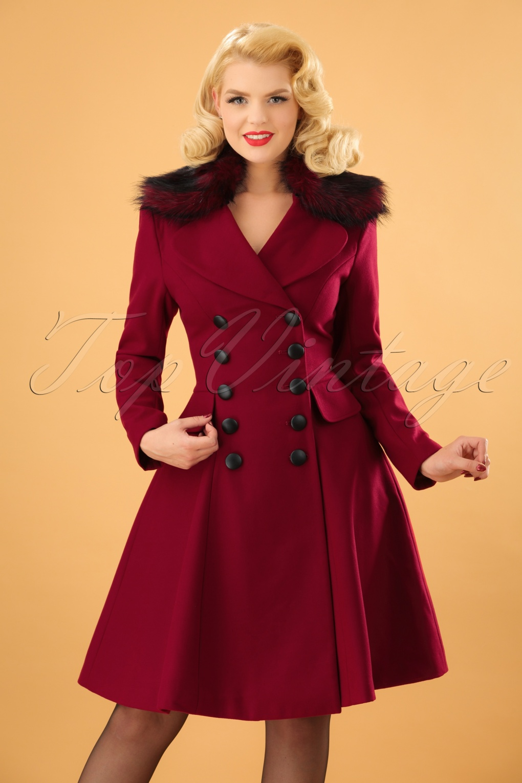 1950s Jackets, Coats, Bolero | Swing, Pin Up, Rockabilly 50s Milan Coat in Burgundy £115.77 AT vintagedancer.com