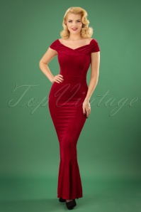 Vintage Chic Red Velvet Fishtail Dress 108 20 22464 20171120 1w