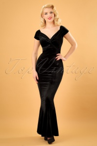 50s Glenda Velvet Maxi Dress in Black
