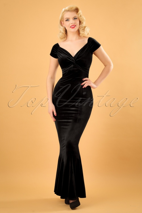 50s Glenda Velvet Maxi Dress in Black