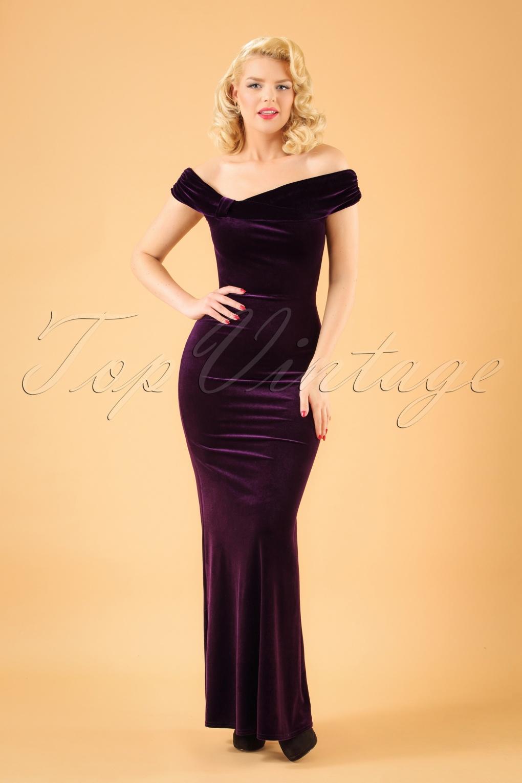 1950s Dress Styles: 8 Popular Vintage Looks 50s Pamela Velvet Maxi Dress in Purple £66.20 AT vintagedancer.com