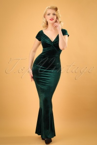 50s Glenda Velvet Maxi Dress in Green