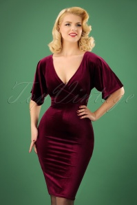 50s Viva Velvet Cross Pencil Dress in Claret