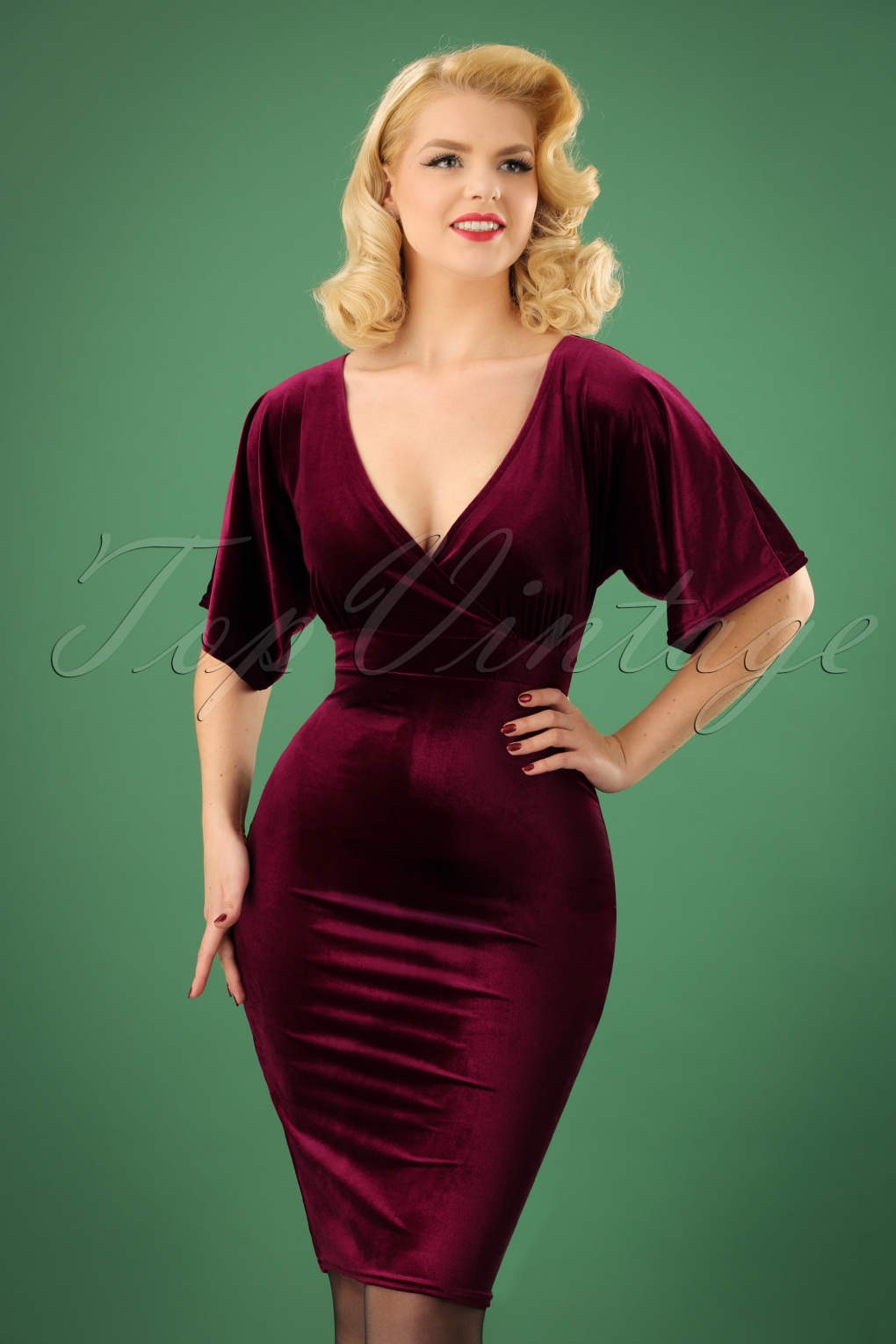 What Did Women Wear in the 1950s? 1950s Fashion Guide 50s Viva Velvet Cross Pencil Dress in Claret £47.84 AT vintagedancer.com