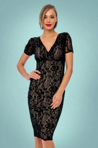 Vintage Chic Black Velvet Lace Pencil Dress 100 10 24154 20171206 0013