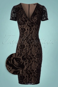 Vintage Chic Black Velvet Lace Pencil Dress 100 10 24154 20171206 0003wv