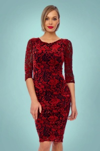 Vintage Chic Red Velvet Lace Pencil Dress 100 20 24153 20171206 0012