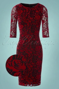 Vintage Chic Red Velvet Lace Pencil Dress 100 20 24153 20171206 0006wv