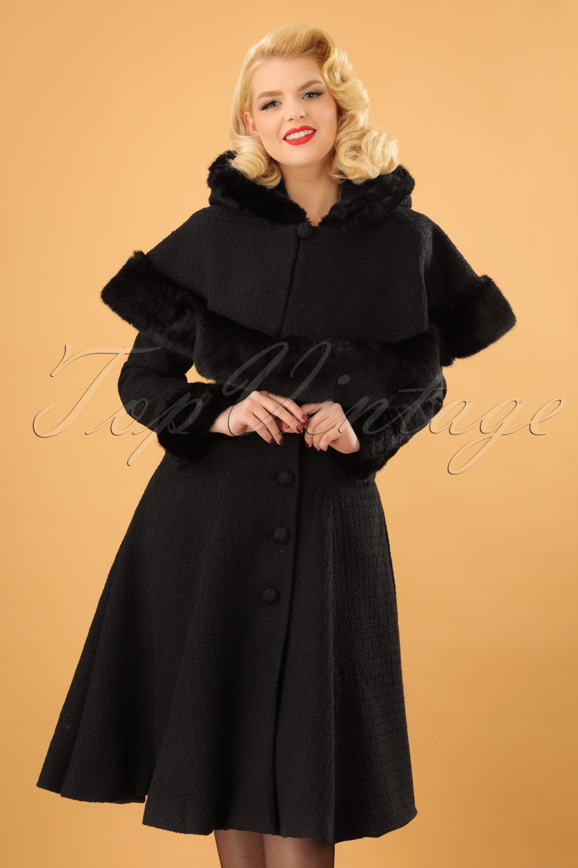 40s Anoushka Princess Coat And Cape In Black Wool