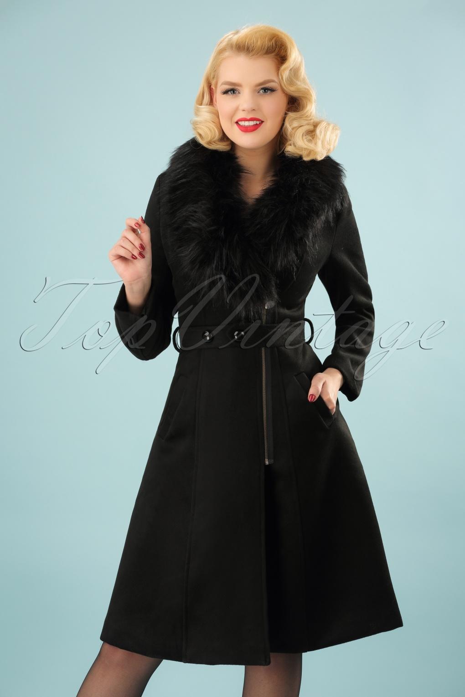 Vintage Coats & Jackets | Retro Coats and Jackets 50s Fabiola Coat in Black £96.40 AT vintagedancer.com