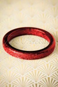 Splendette TopVintage Exclusive ~ 20s Fedora Midi Glitter Bangle in Red