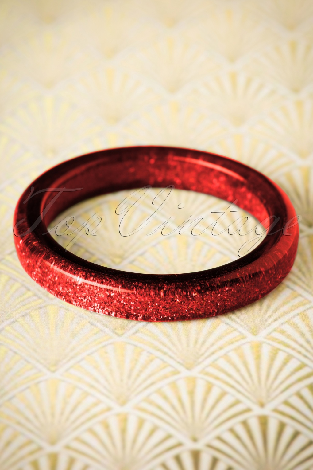 Vintage Style Jewelry, Retro Jewelry TopVintage Exclusive  20s Fedora Midi Glitter Bangle in Red £8.86 AT vintagedancer.com