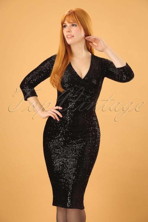 Vintage Chic Velvet Sequins Long Sleeve Pencil Dress 100 10 19641 20161118 0002 (2)w