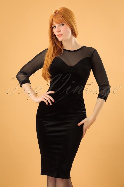 Vintage Chic Black Velvet Dress 100 10 20481 20161212 0002 (2)w