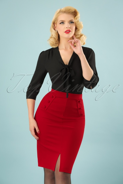 Vintage Chic Flap Button Red Pencil Skirt 120 20 22747 20171107 0002 (2)w