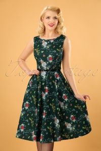 Lady V Green Floral Swing Dress 102 49 23689 20171106 0003 (2)w