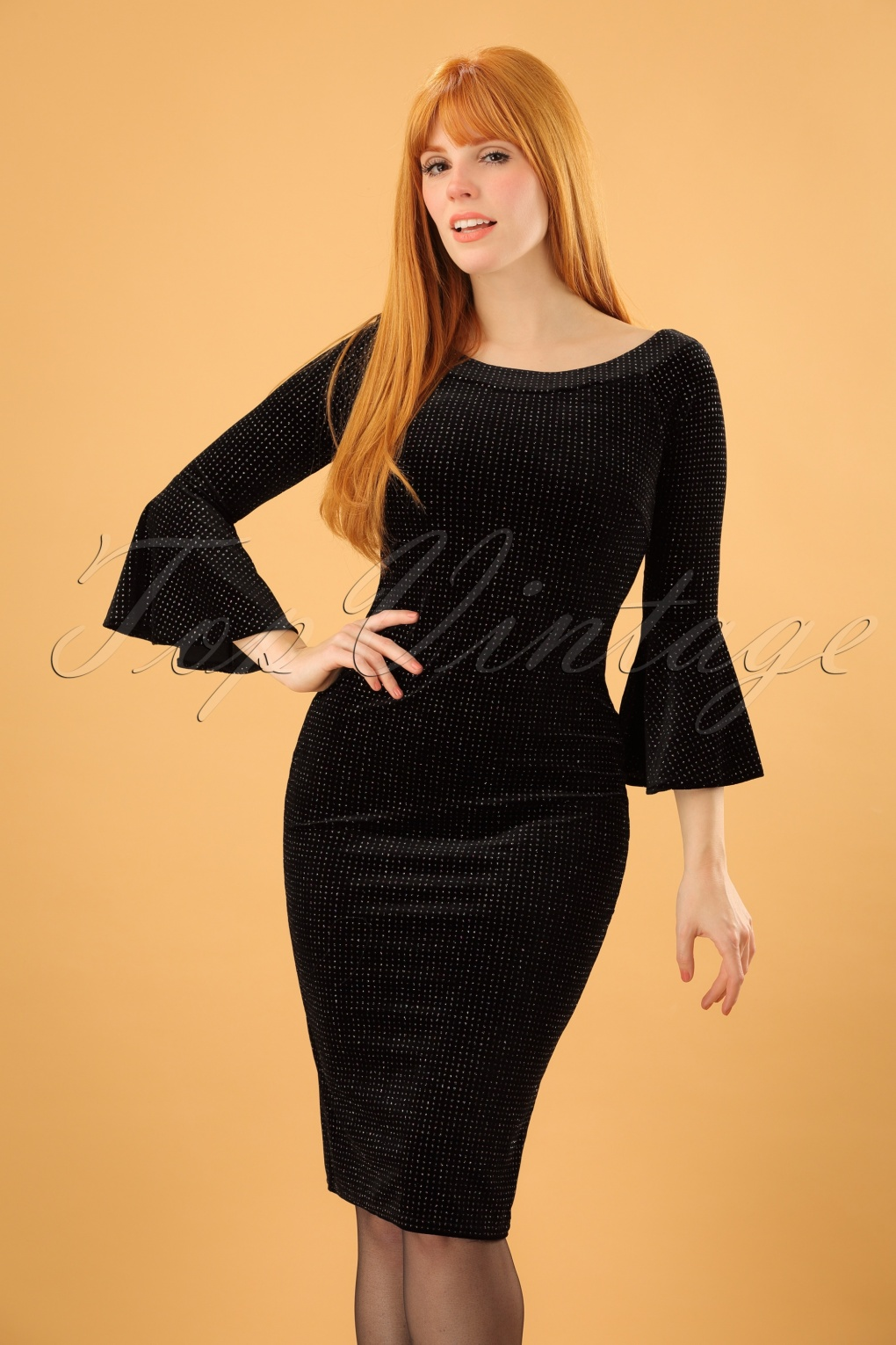 1960s Dresses – A Rainbow of 50 Dresses (Pictures) 70s Whitney Velvet Pencil Dress in Black £37.33 AT vintagedancer.com