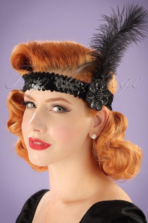 20s zelda sequins feather headband in black - Headband annee 20 ...