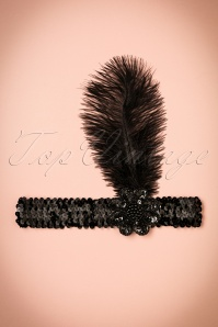 Zelda Sequins Feather Headband Années 20 en Noir