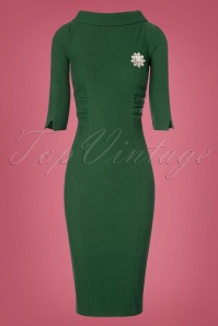 Unique Vintage Lucinda Pencil Dress in Green 100 40 23168 20171211 0006w