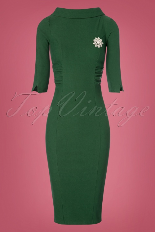 6870b8659f3 Unique Vintage Lucinda Pencil Dress in Green 100 40 23168 20171211 0006w