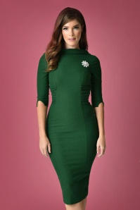 Unique Vintage Lucinda Pencil Dress in Green 100 40 23168 20171211 0016
