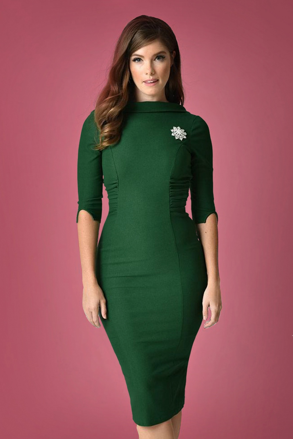 Dress: 60s Lucinda Wiggle Dress In Emerald