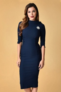 Unique Vintage Lucinda Pencil Dress in Navy 100 31 23169 20171211 0011
