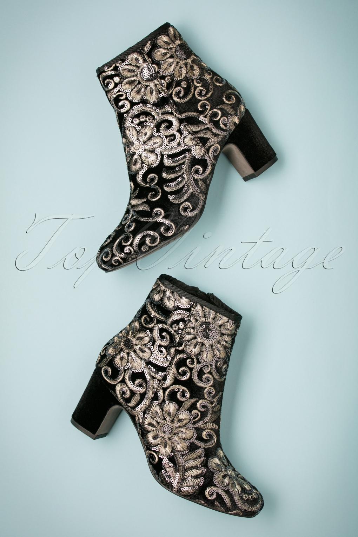 Retro Boots, Granny Boots, 70s Boots 70s Florence Embellished Velvet Booties in Black £71.45 AT vintagedancer.com