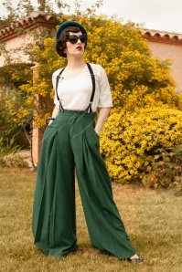 40s Laura Trousers in Forest Green