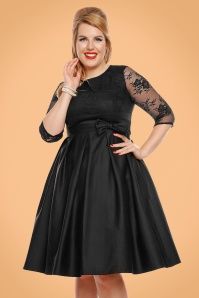50s Diana Lace Swing Dress in Black