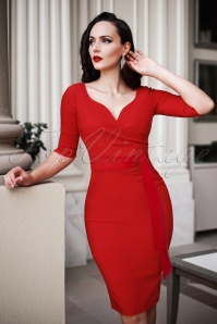 The Bombshell Sleeved Pencil Dress in Lipstick Red
