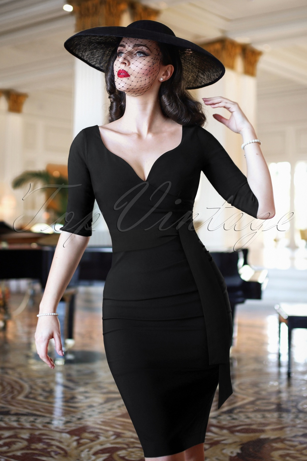 1950s Cocktail Dresses, Party Dresses The Bombshell Sleeved Pencil Dress in Black £105.87 AT vintagedancer.com