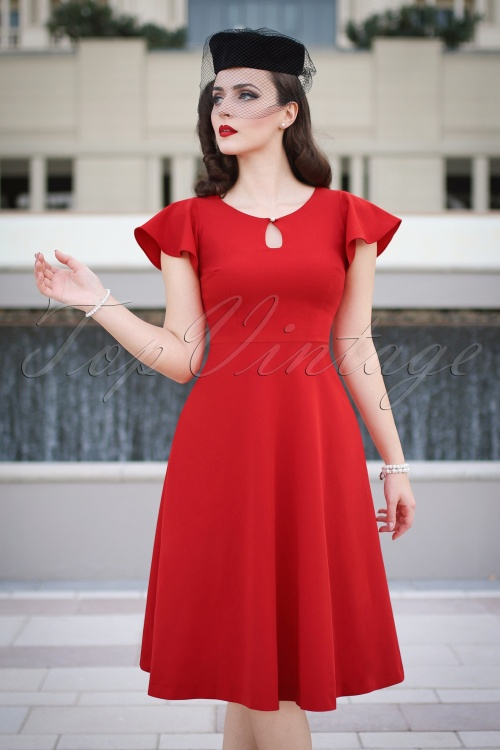 Vintage Diva The Oh So Curvy Dress in Bright Red 24436 20170126 0020cw