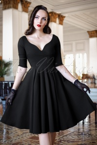 The Bombshell Sleeved Swing Dress in Black