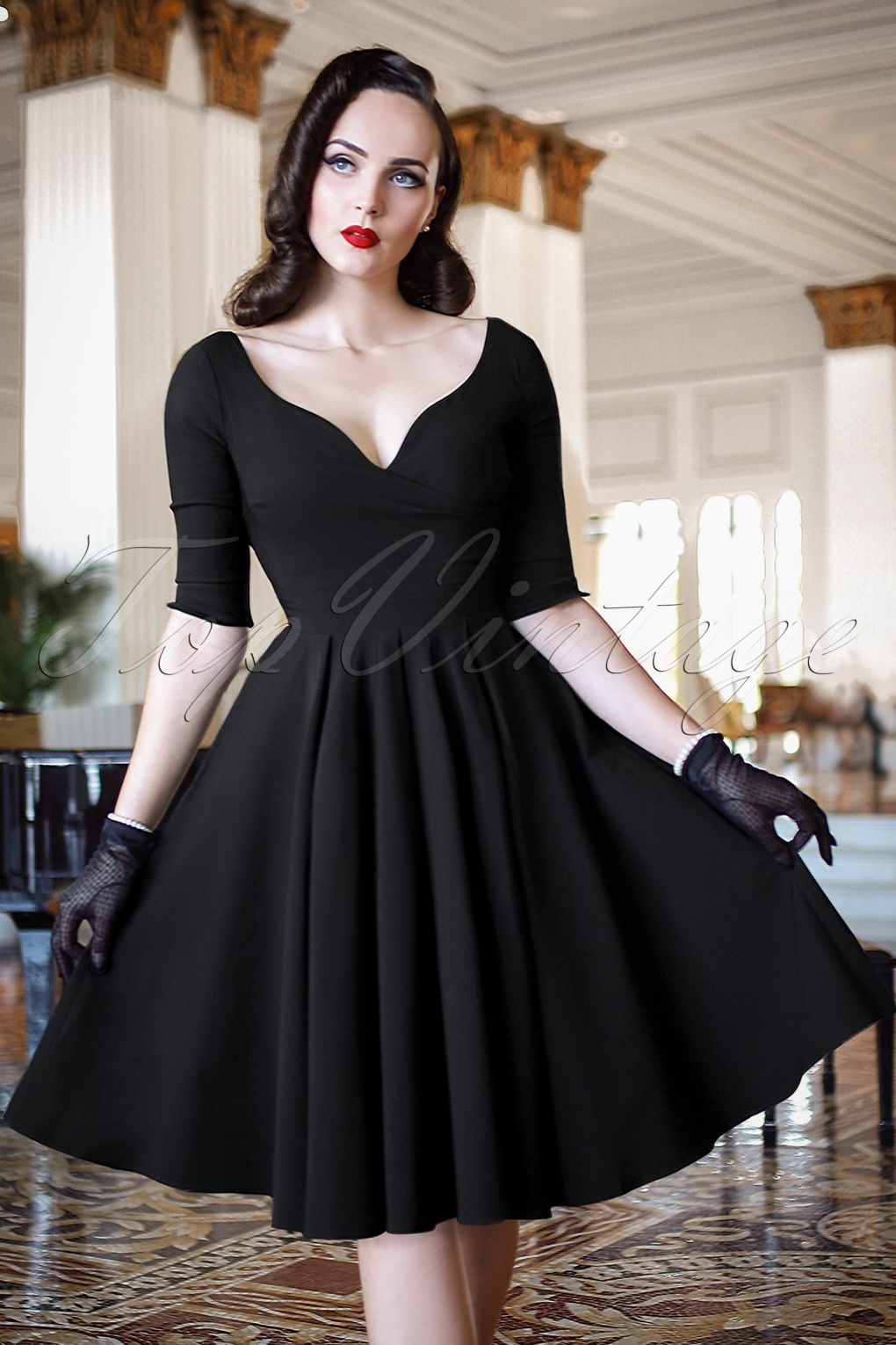 the bombshell sleeved swing dress in black. Black Bedroom Furniture Sets. Home Design Ideas