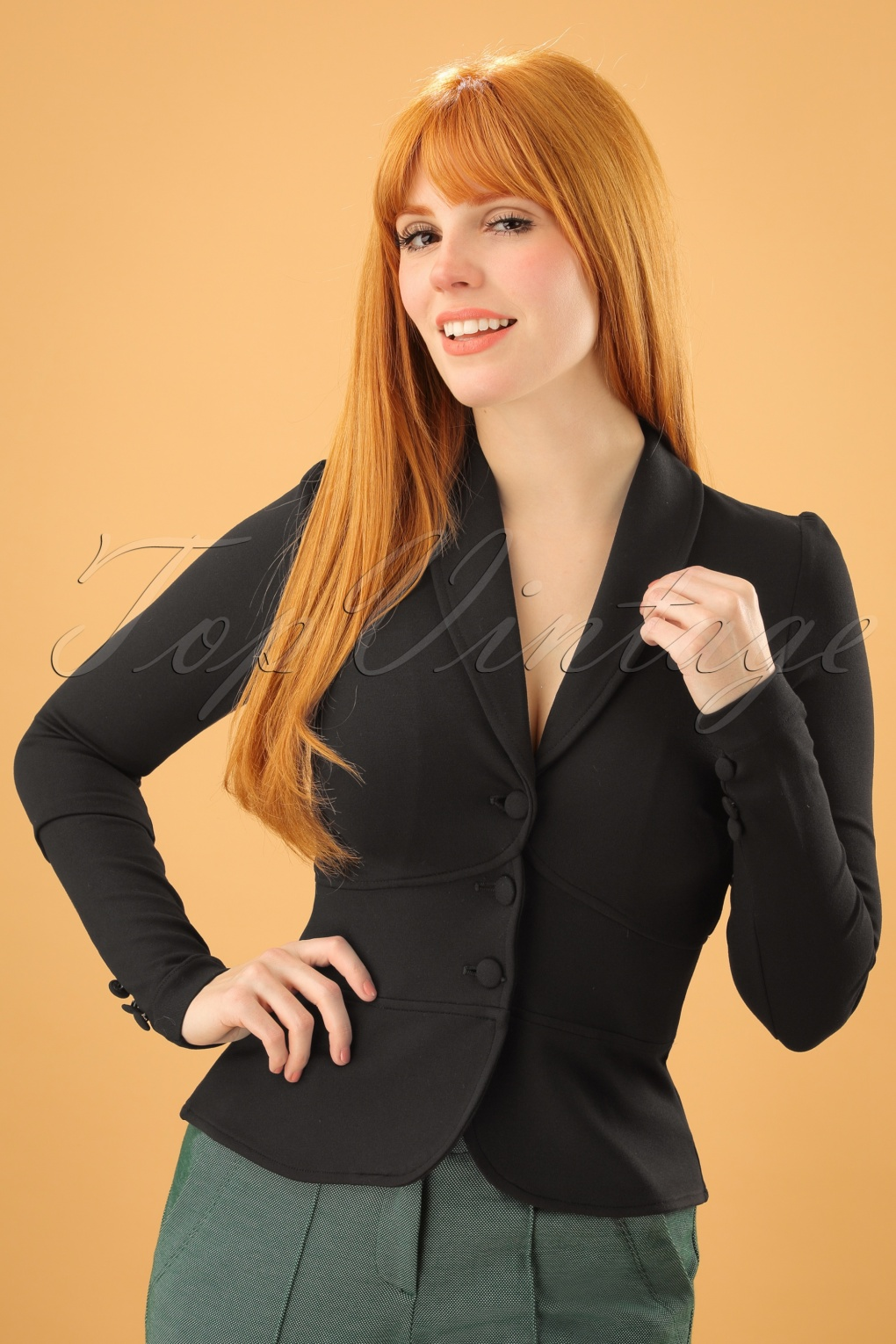 Women's 1940s Victory Suits and Utility Suits Smoking Jacket Milano in Black £90.87 AT vintagedancer.com