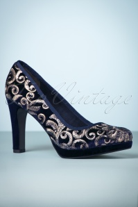 Tamaris Navy Flower Pump 400 31 24437 20171219 0011w