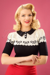 SugarShock 40s Berit Bow Jumper in Black and Cream