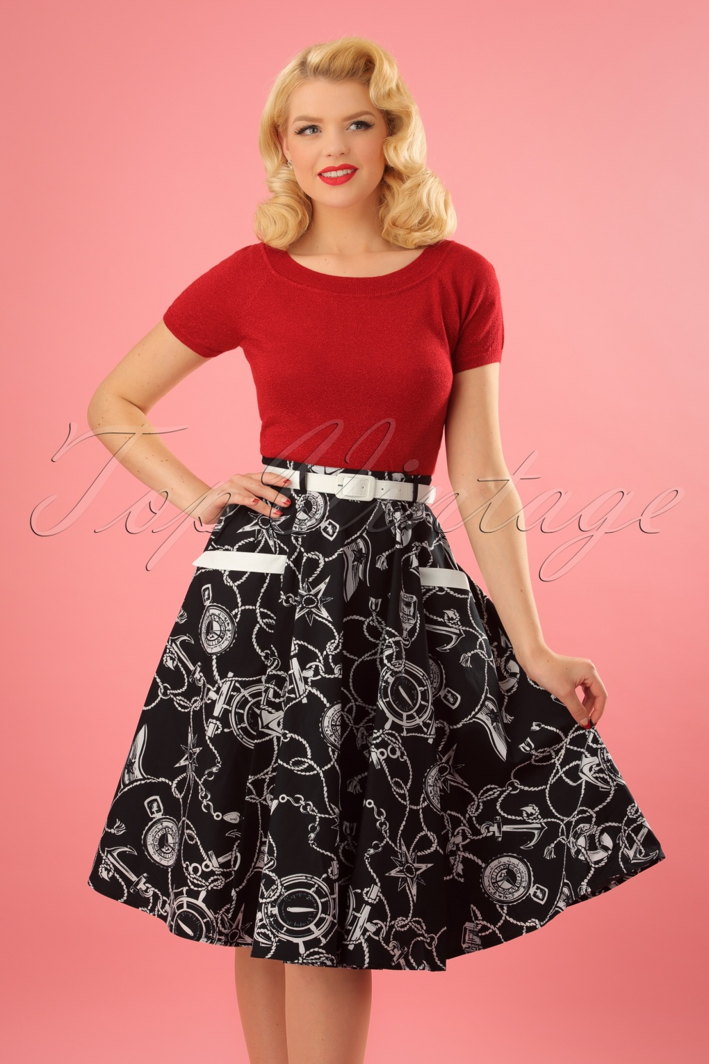 1930s Jewelry Styles and Trends 50s Mistral Swing Skirt in Black and White £35.54 AT vintagedancer.com