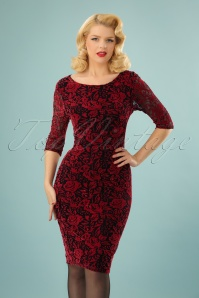 50s Lucille Velvet Lace Pencil Dress in Black and Red
