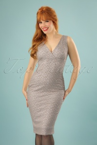 Vintage Chic Gold and SIlver Glitter V Wrap Dress 100 91 23387 20171123 01W