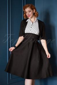 50s Lisa Polkadot Shirt Bolero Swing Dress in Black and White