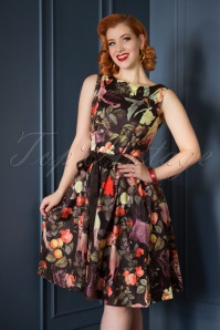 50s Audrey Feline Floral Swing Dress in Black