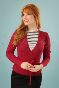 40s Wrap Heart Ajour Top in Red