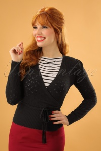 40s Wrap Heart Ajour Top in Black