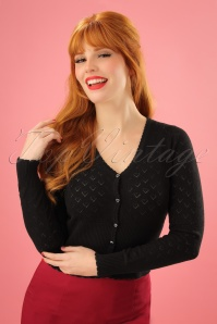 40s Heart Ajour Cardigan in Black